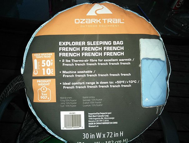 This Sleeping Bag Manufacturer Forgot To Fill In The French Translation