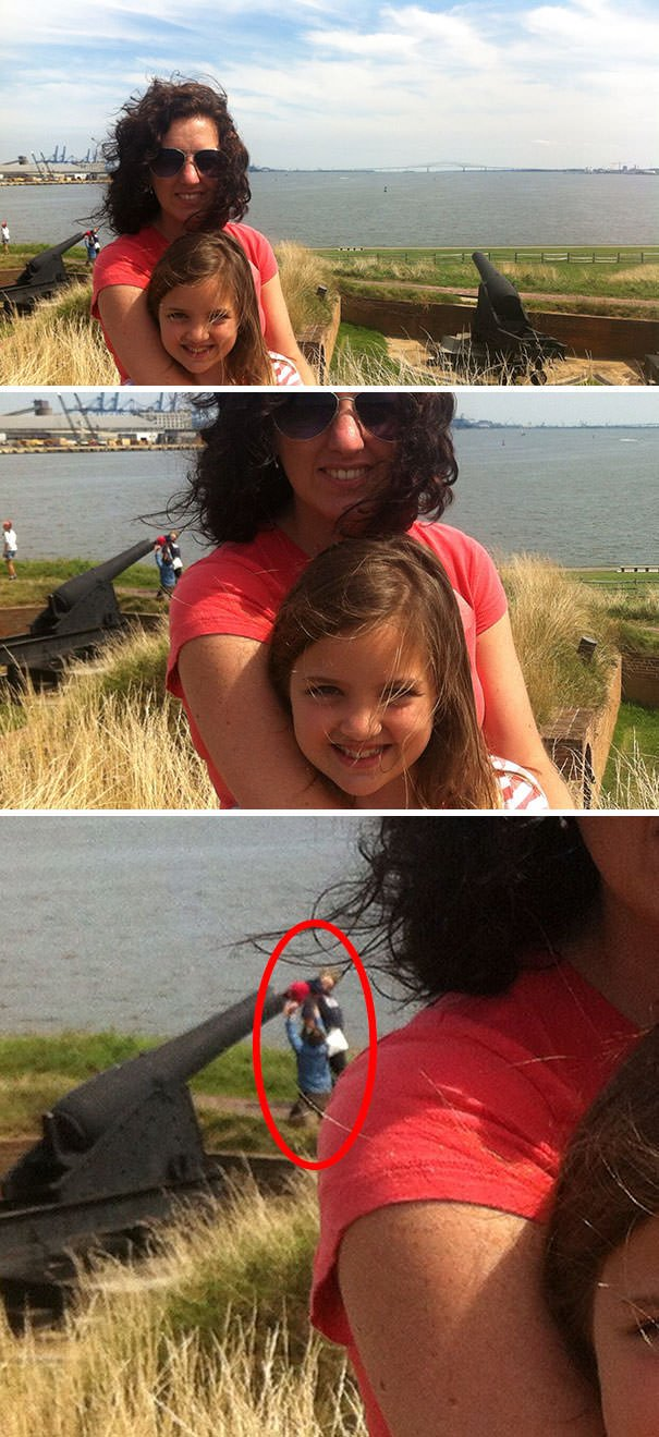 Some Friends Took A Picture And Later Realized That The People In The Background Were Stuffing A Baby In A Cannon