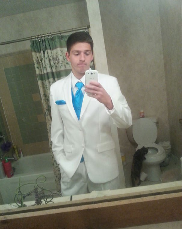 My Friend Got His Tux In And Sent Me A Pic. I Had To Bring It To His Attention What Was Going On In The Background