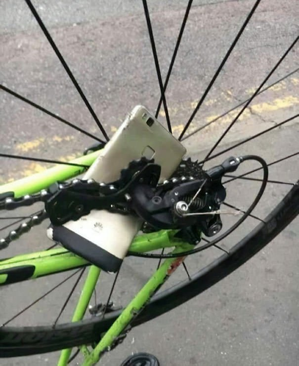 This Person Dropped His Phone Into A Bike Chain While Riding