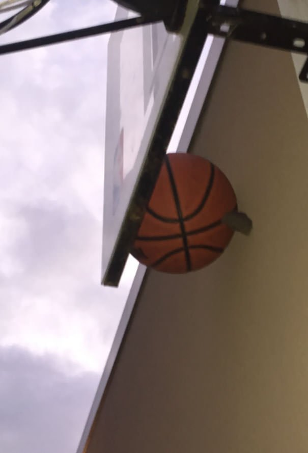 My Basketball Got Stuck Between The Backboard And The Wall Behind It, So I Threw A Rock At It. Then This Happened