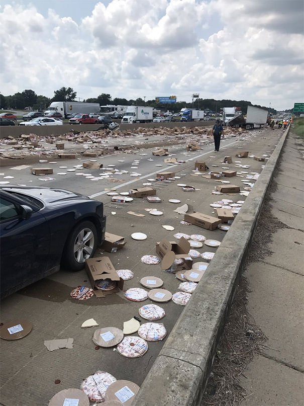 A Tractor Trailer Slammed Into The Mablevale Overpass On I-30, Causing Frozen Pizzas To Cover The Interstate, Blocking All Traffic