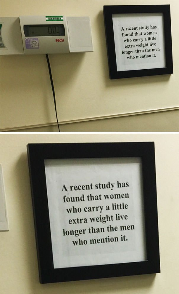 Saw This Next To The Weighting Scale At The Hospital