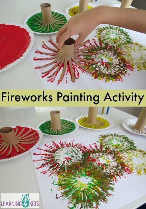 Fireworks painting activity - great new year