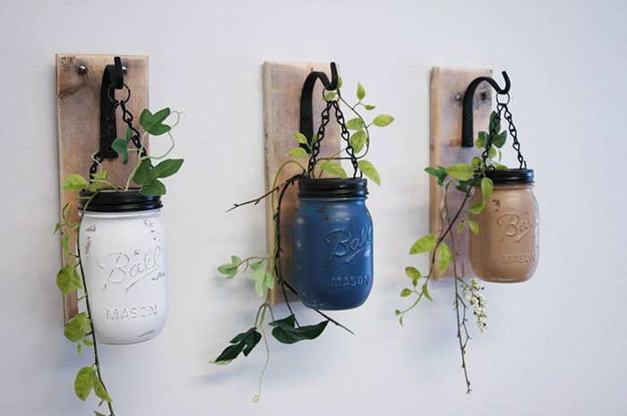 Wall Decor - Individual Hanging Painted Mason Jars