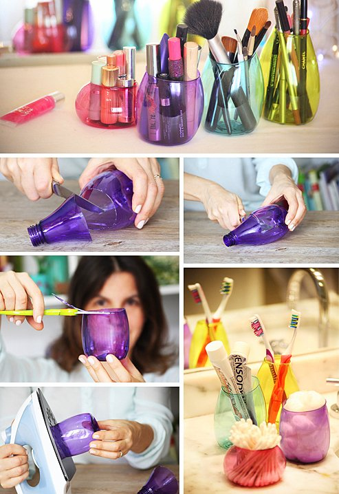plastic-bottles-makeup-holders