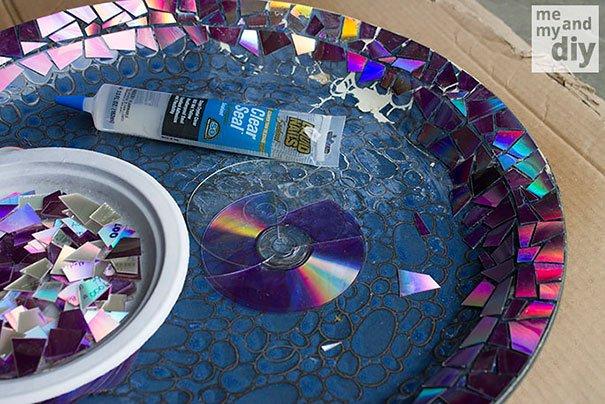 Mosaic Tile Birdbath
