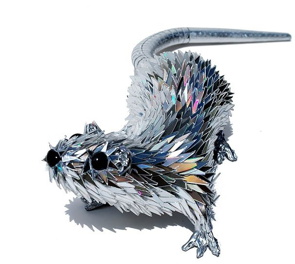 Animal Sculptures Made Of Shattered Cds