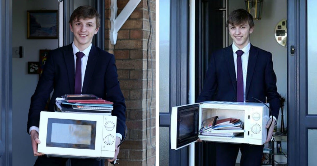 as 3.jpg?resize=1200,630 - School Bans Bags So Teen Turns Up With A Microwave To Carry His Books