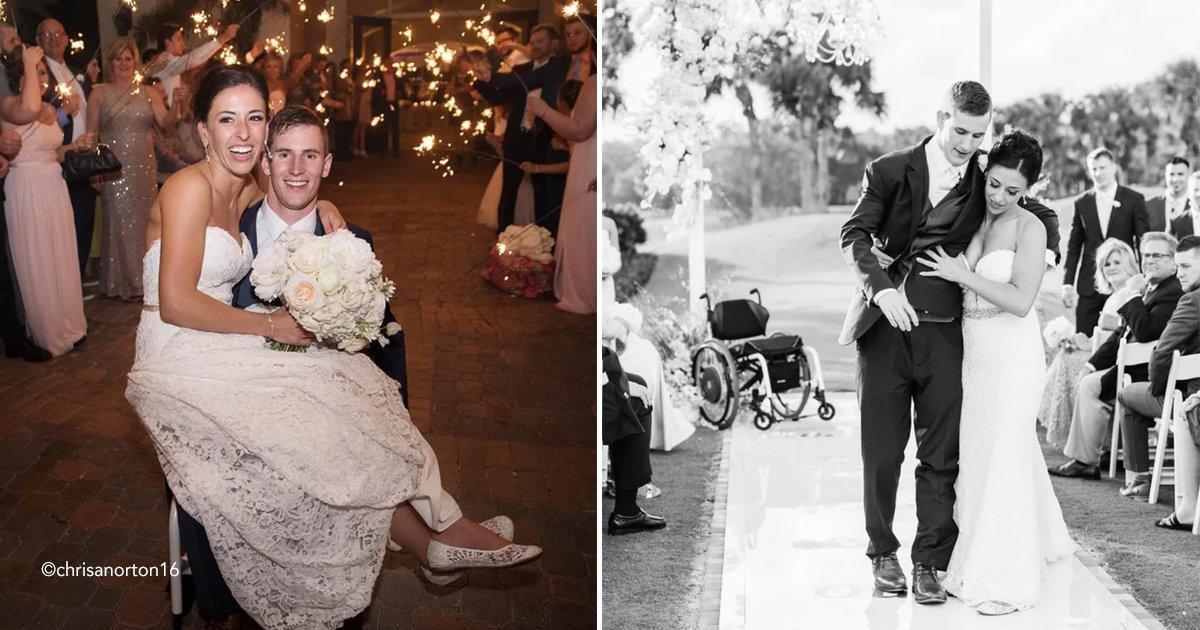 boda.jpg?resize=300,169 - El novio camina hacia el altar junto a su novia después de 7 años en una silla de ruedas