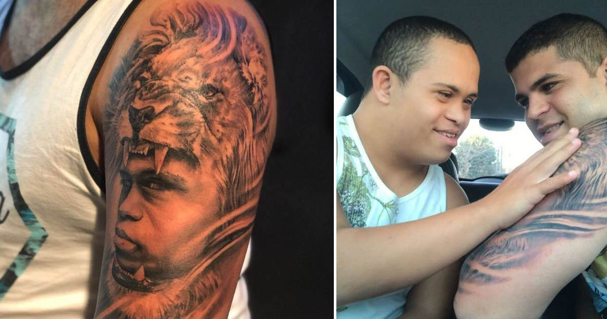 brother tattoo.jpg?resize=300,169 - Brother Gets Tattoo Of Younger Brother With Down's Syndrome On His Arm - His Reaction Is PRICELESS