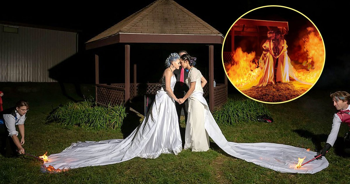 burning gowns.jpg?resize=412,232 - Brides Ask Their Guests To Set Their Wedding Dresses On Fire - The Astonishing Moment Caught On Camera