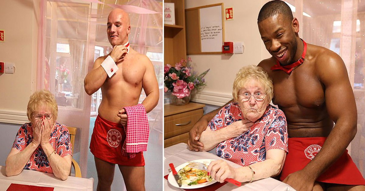 care home hire butlers.jpg?resize=412,232 - Elderly Residents At Care Home Hire 'Hunks In Trunks' To Serve Them A Three-Course Meal