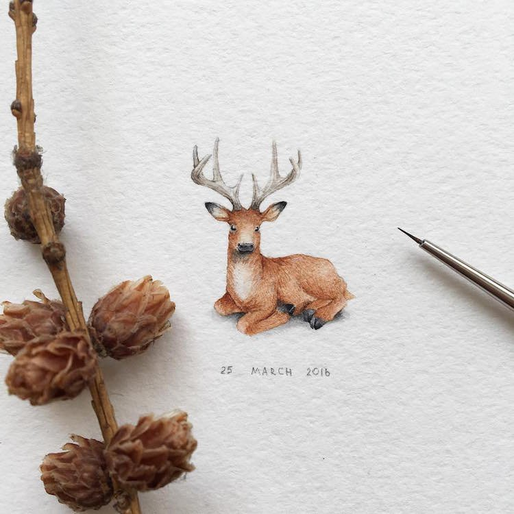 dessins animaux adorables miniatures 21.jpg?resize=300,169 - Elle dessine de minuscules animaux aux détails pourtant impressionnants!