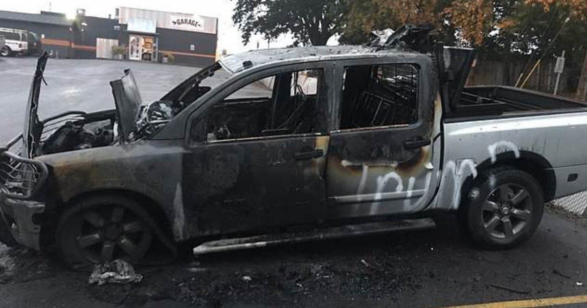 """divya3 5.png?resize=1200,630 - """"A Pick Up Truck Which Had Two Stickers Supporting Trump Was Set On Fire BY Anti-Trump Vandals"""", Claims A Man"""