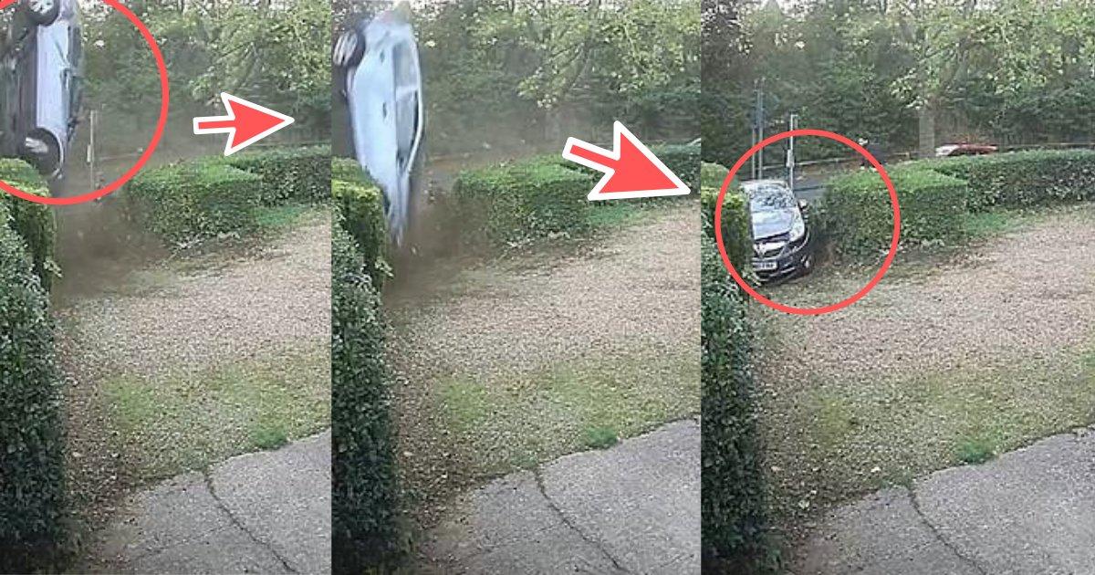 divya4 2.png?resize=412,232 - Une voiture a fait un dérapage massif dans une haie et a tourné à 360 degrés