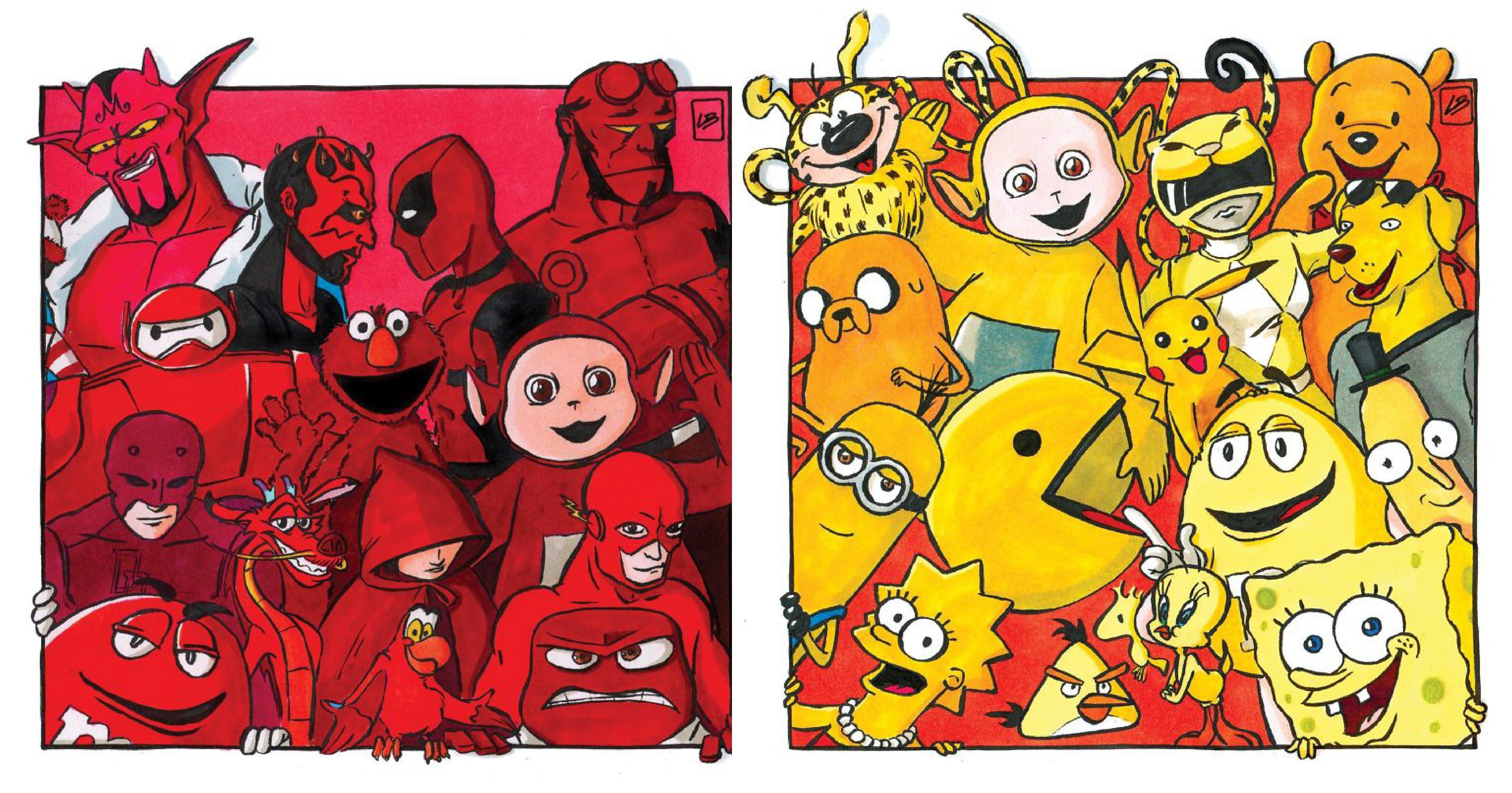 e5b081e99da2 2 1.png?resize=648,365 - 法國插畫家超有才!用顏色分類各大動漫角色 ... 看完後你想加入哪支超級戰隊?