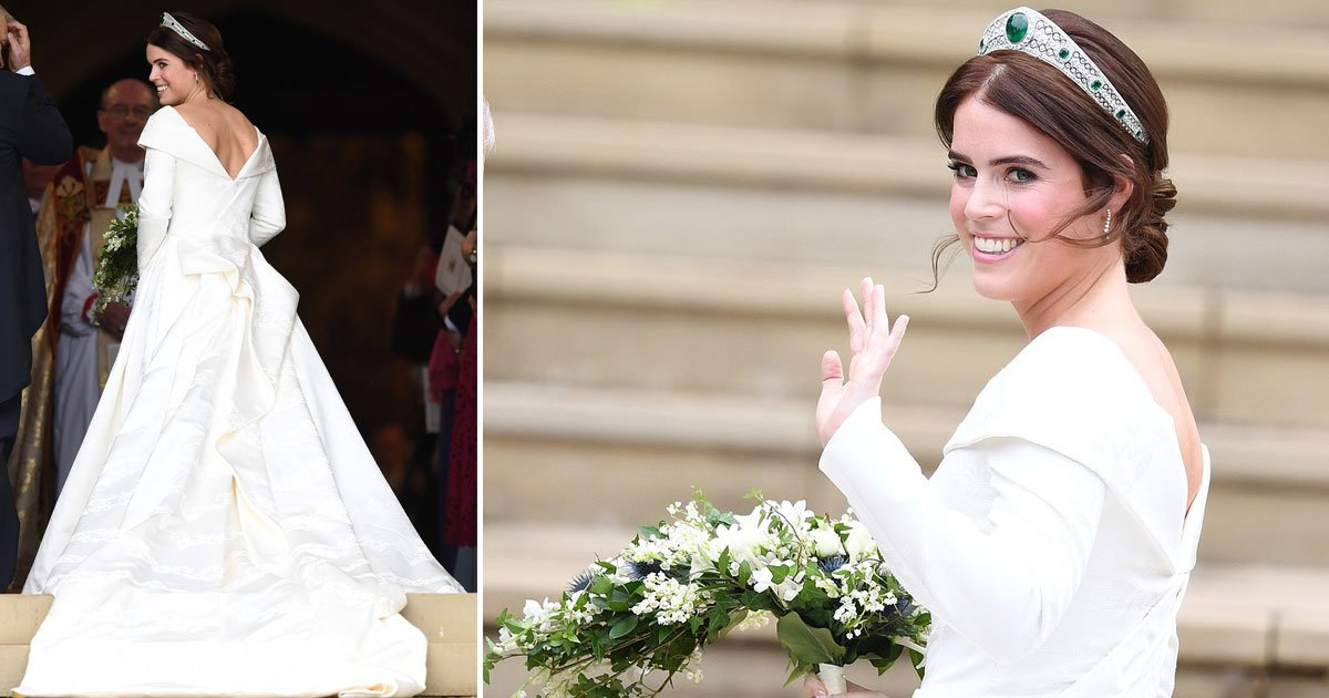 eugenie wedding.jpg?resize=300,169 - Princess Eugenie Shows Off Her Scoliosis Surgery Scars In A Low-back Gown Designed By Peter Pilotto