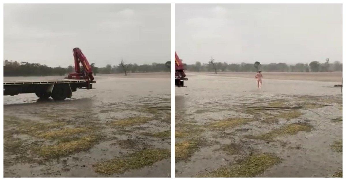 farmer.jpg?resize=636,358 - Watch How An Australian Farmer Celebrated The First Rain After Months Of Drought