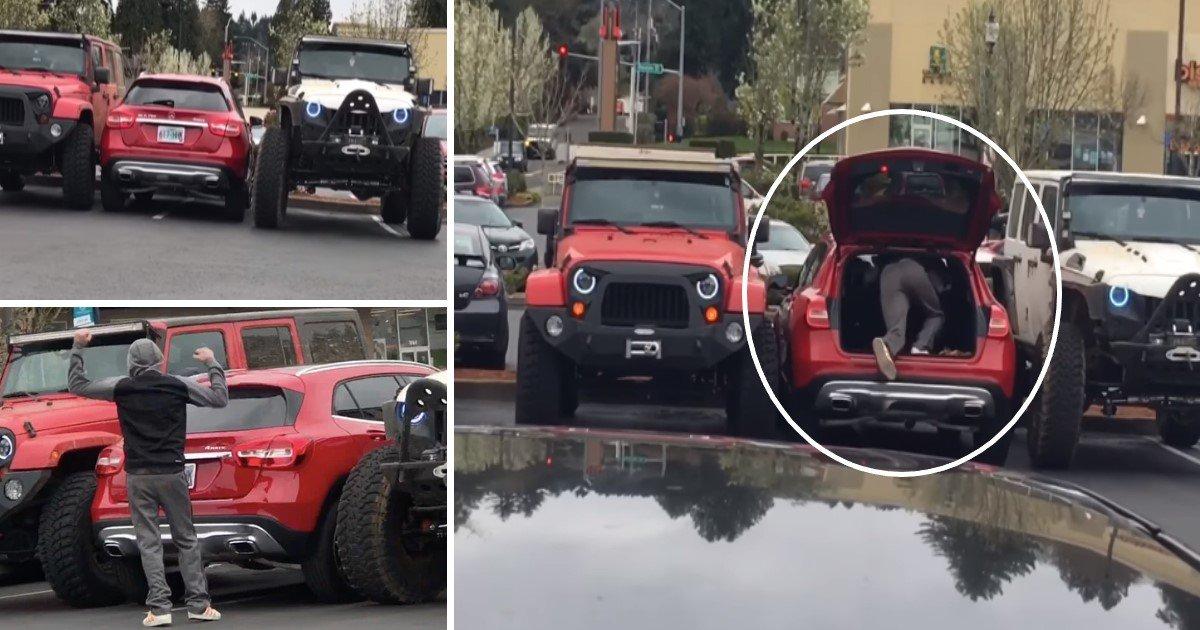 featured image 14.jpg?resize=1200,630 - Des hommes prennent leur revanche sur un conducteur qui s'est garé sur deux places de parking