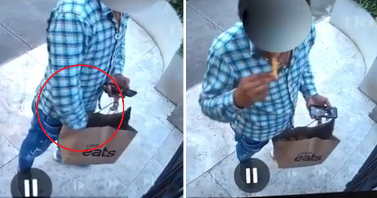 ggga.jpg?resize=412,232 - UberEats Driver Caught Eating French Fries Before Ringing Customer's Door Bell