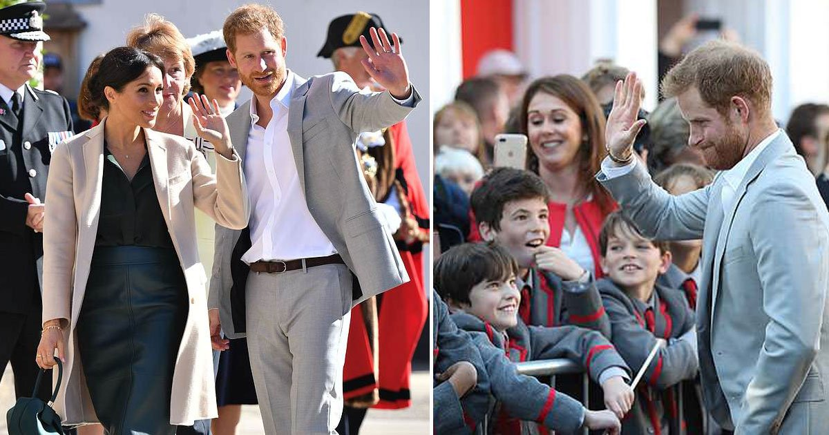 harry meghan.jpg?resize=636,358 - Prince Harry Gave A High-Five To A Student Who Revealed He Skipped Double Latin Class To See Him And Meghan