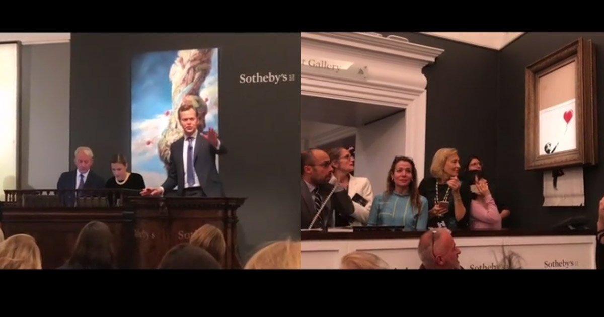 mainphoto banksy.jpg?resize=1200,630 - [Vidéo] Une œuvre de Banksy s'autodétruit après avoir été vendue aux enchères.