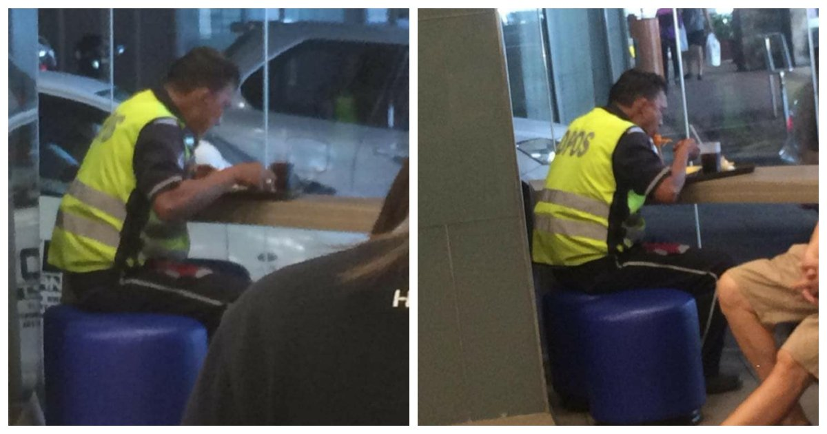 man 1.jpg?resize=412,232 - Exhausted Traffic Enforcer In Metro Manila Sheds Tears When Young Lady Buys Him A Meal