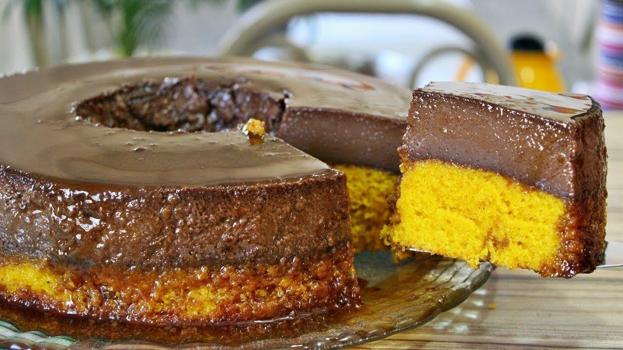 maxresdefault 4.jpg?resize=636,358 - Bolo de cenoura com pudim de chocolate é fácil de fazer e delicioso!