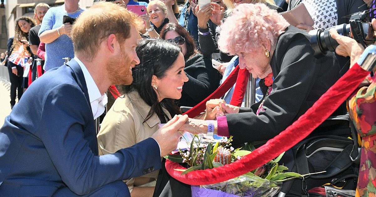 meghan harry sydney.jpg?resize=412,232 - 'Oh My Goodness, Is This Daphne?', Says Meghan Markle When Prince Harry Introduces Her To Australian War Widow