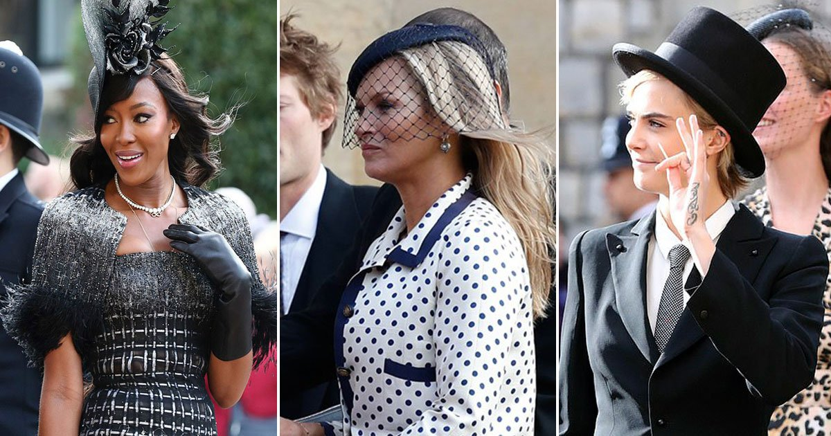 naomi kate cara.jpg?resize=636,358 - Models Naomi Campbell, Kate Moss, And Cara Delevingne Ooze Glamour As They Arrive At Princess Eugenie And Jack Brooksbank's Royal Wedding