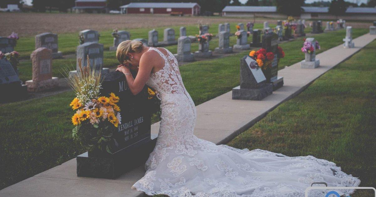 noiva.png?resize=648,365 - Vestida de noiva, jovem visita túmulo do companheiro no dia em que iriam se casar