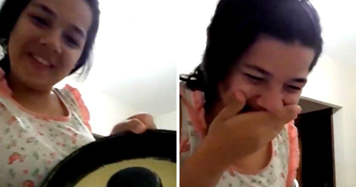 pudim.png?resize=412,232 - Adolescente chora ao fazer primeiro pudim e viraliza na web
