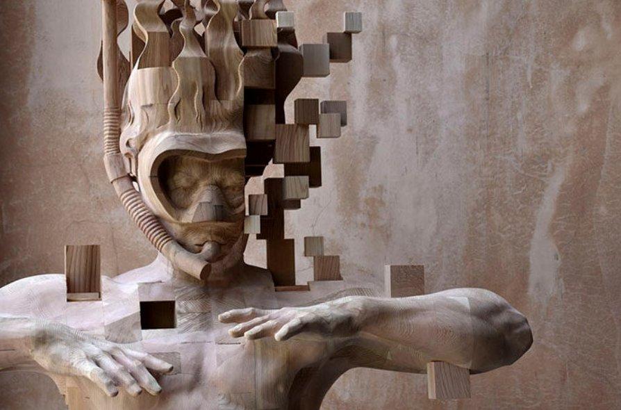 screen shot 2018 10 17 at 4 29 35 pm.png?resize=412,232 - 台灣藝術家做出像「畫素有問題」的木雕,視覺超衝擊~懷疑人生啊!
