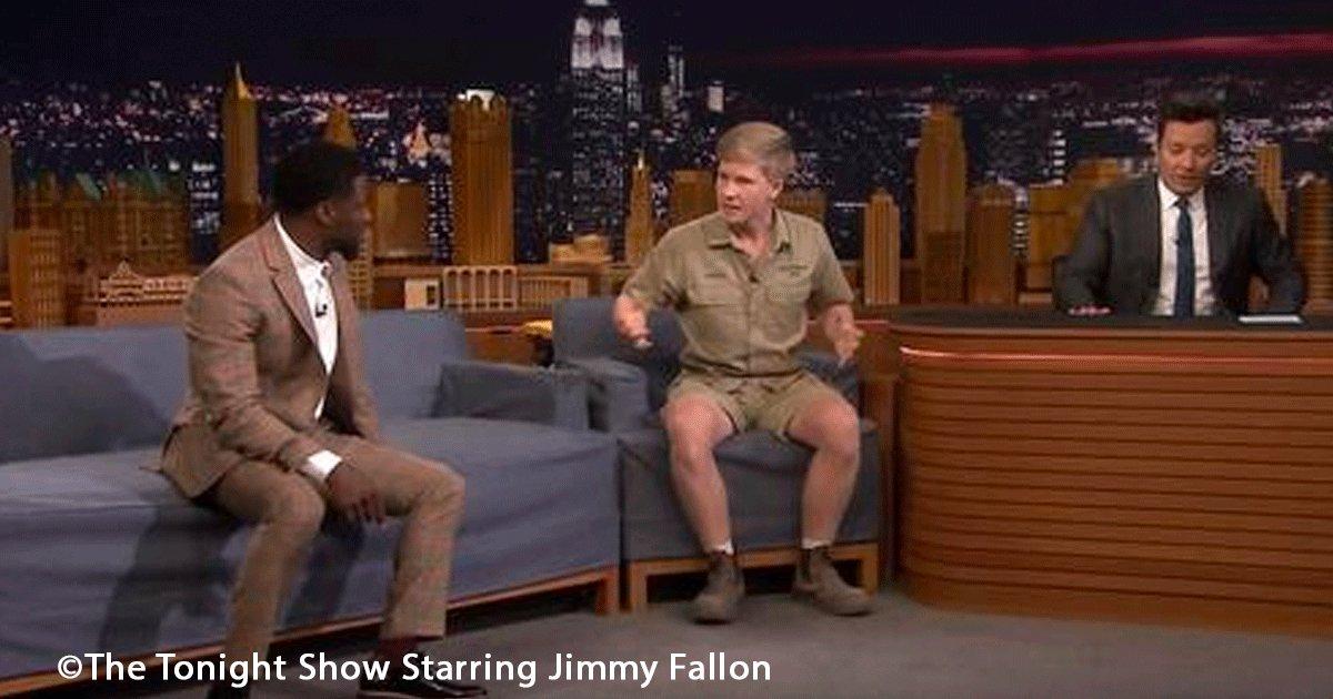 sin titulo 1 19.png?resize=1200,630 - Jimmy Fallon invitó a Robert Irwin a su programa quien mostró algunos animales que pusieron a Kevin Hart en shock
