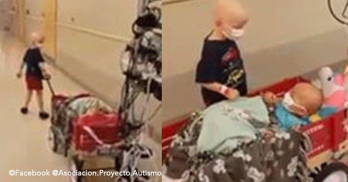 sin titulo 1 60.png?resize=1200,630 - Niños con cáncer juegan en los pasillos del hospital y él la arropa para que no tenga frío