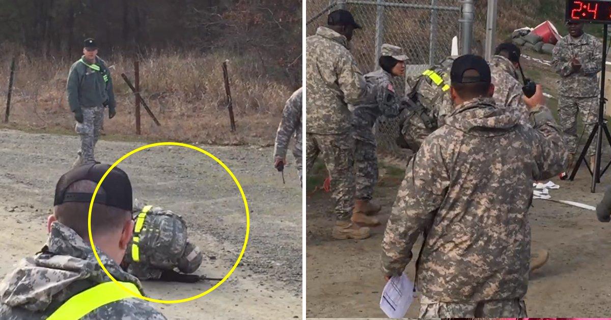 soldier 1.jpg?resize=412,232 - Le moment inspirant d'une femme soldat qui refuse d'abandonner et franchit la ligne d'arrivée malgré des trébuchements à quelques reprises