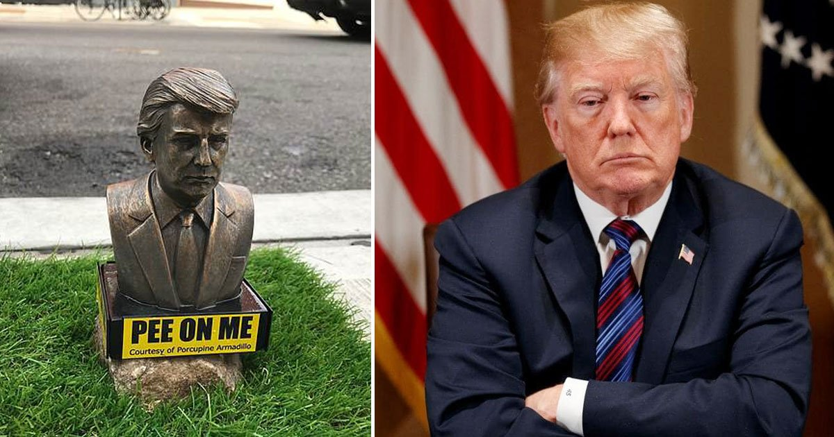 trump statue.jpg?resize=648,365 - Tiny Statues Of President Donald Trump With A Sign 'PEE ON ME' Are Placed Across Brooklyn
