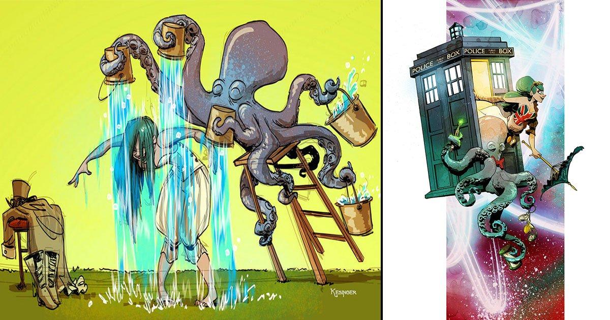 untitled 1 37.jpg?resize=412,232 - Un illustrateur de Disney imagine une vie avec une pieuvre comme animal de compagnie et vous allez l'adorer