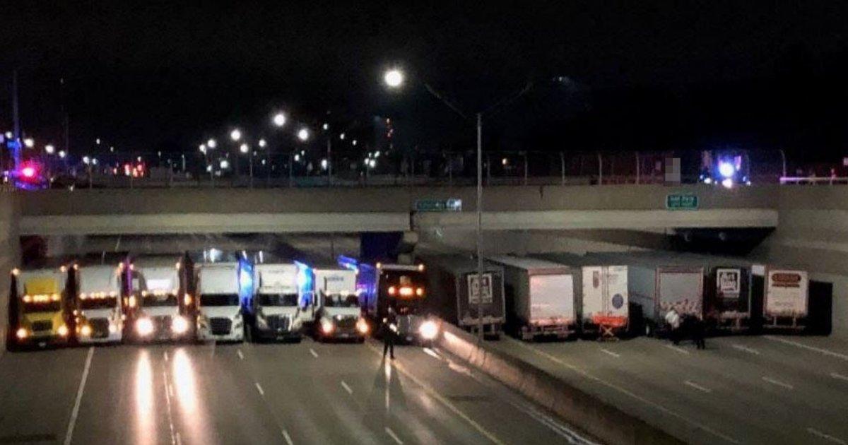 untitled design 19 1.png?resize=1200,630 - 13 chauffeurs routiers bloquent toute l'autoroute et leur raison fait chaud au coeur