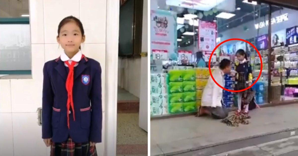untitled design 68.png?resize=412,232 - Une fillette de 10 ans aide un homme sans-abri qui n'a pas de bras à manger du pain après l'avoir vu se débattre
