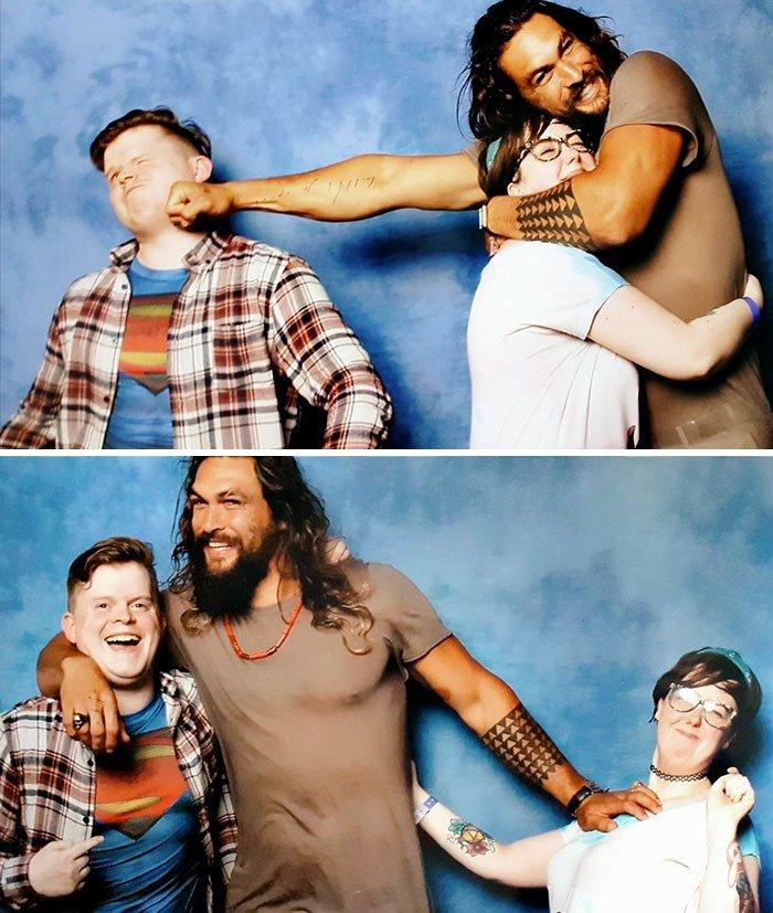 1 268.jpg?resize=412,232 - [Photos] Jason Momoa aime créer la zizanie dans les couples de fans qui viennent le rencontrer!