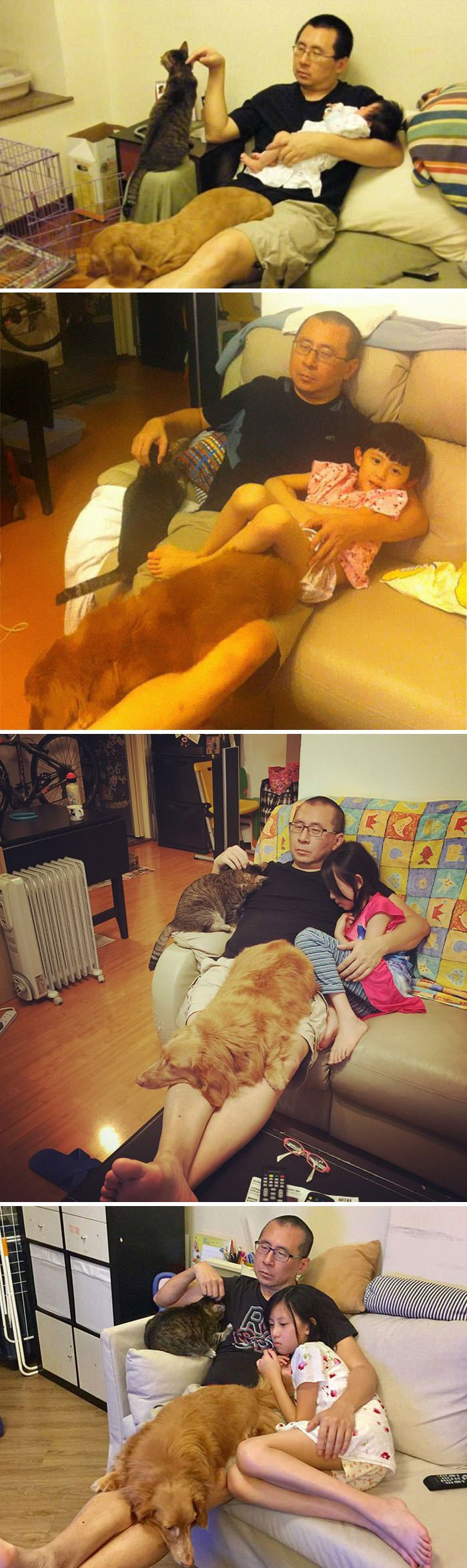 Father, Daughter And Their Pets Recreate The Same Photo For 10 Years, Proving That Some Things Never Change