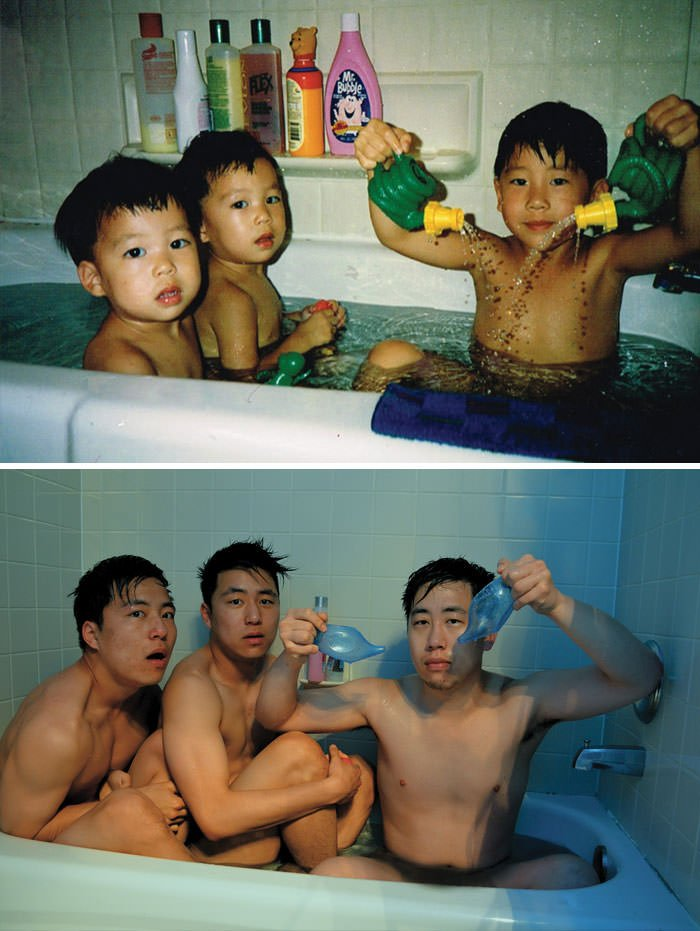 Brothers In A Bathtub. 20 Years Apart