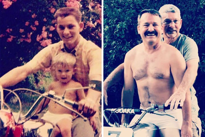 Father's Day Wouldn't Be Complete Without Our Annual Tradition Of Remaking This 1968 Photo Of Dad And Me On His First Motorcycle