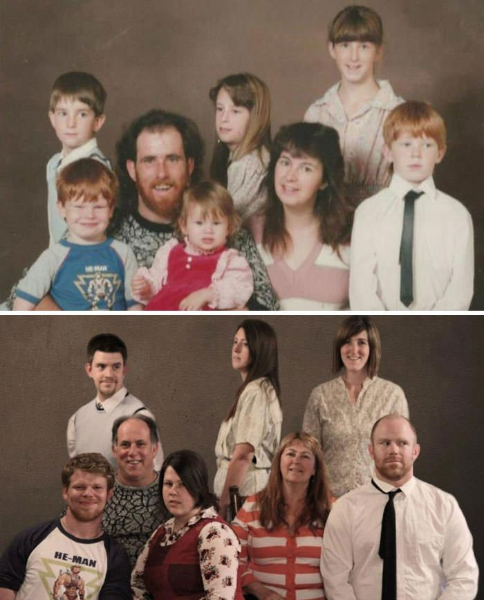 23 Years Later, And A Lot Less Hair... Our Family Photo Re-Creation!