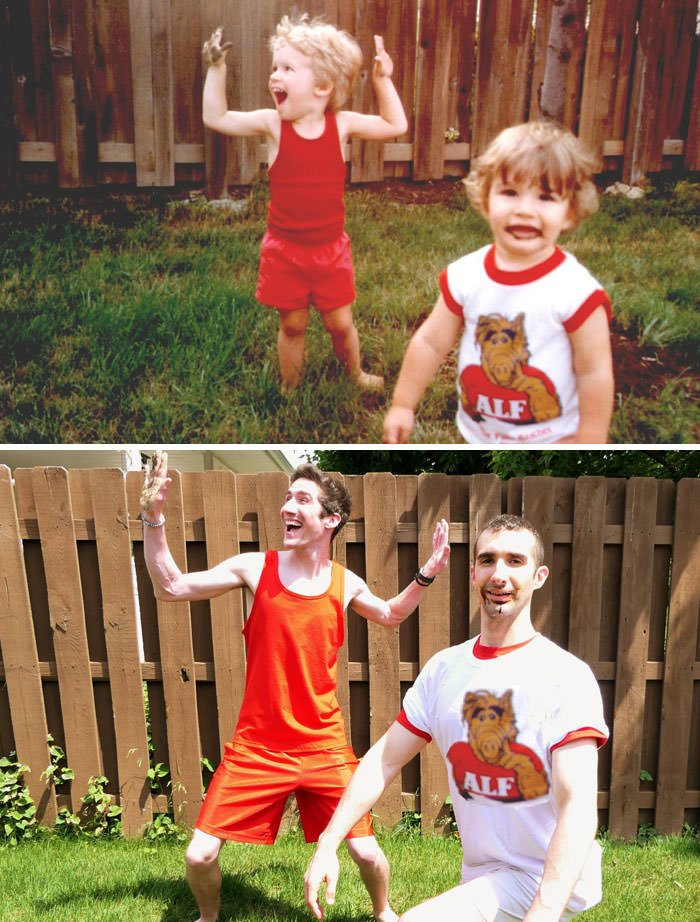 My Brother And I Recreated Pictures 25 Years Later For Our Mom