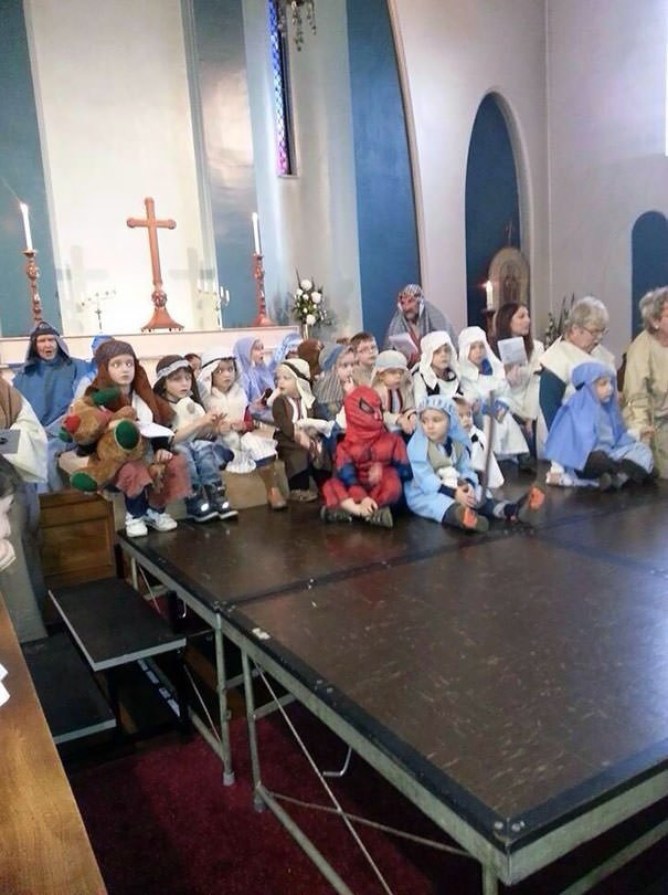 My Buddy Just Posted This Photo Of His Nephew During His Christmas Nativity Play. Not A Single F**k Was Given That Day