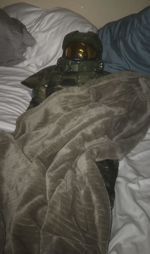 My 5-Year-Old Fast Asleep. Second Night He Has Slept In This Costume