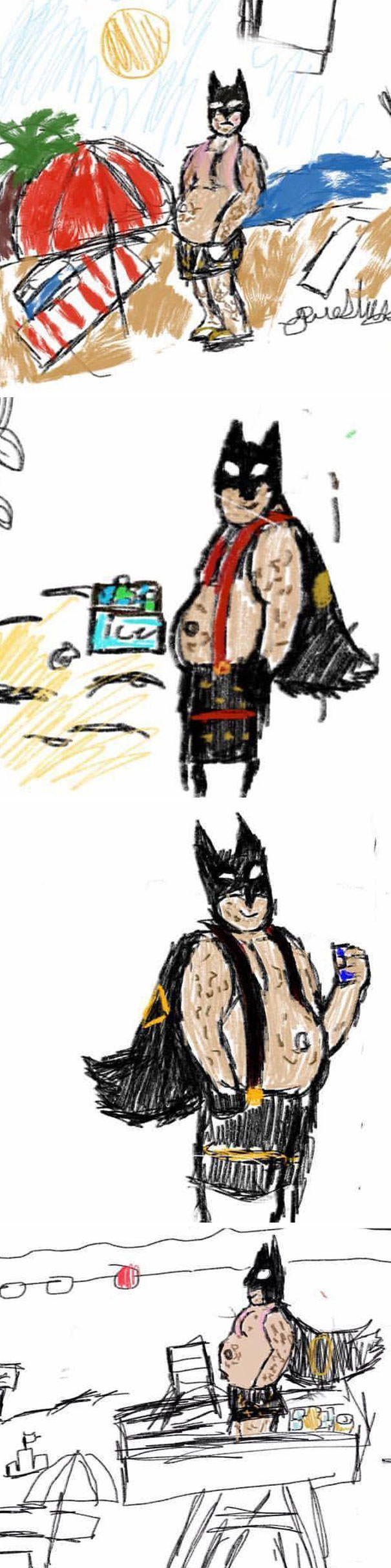 My 11-Year-Old Has Started Drawing Fat, Middle Aged Batman At The Beach And It